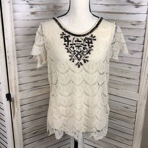 LUCKY BRAND | Beaded Lace Top